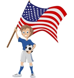 Happy soccer fan holds usa flag vector