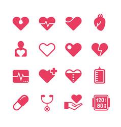 Heart diagnosis and cardiac treatment icons vector