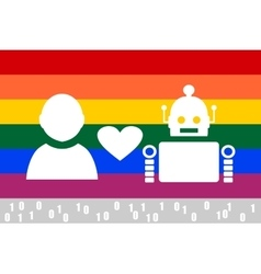 Human and robot relationships LGBT flag vector image vector image