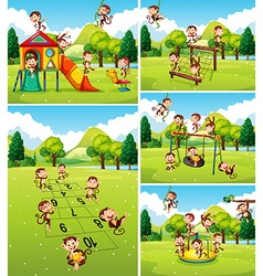 Lots of monkeys playing on playground vector image