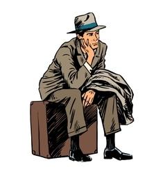 Male passenger waiting travel trip style retro vector