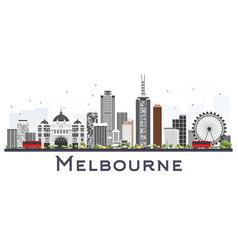 Melbourne australia city skyline with gray vector