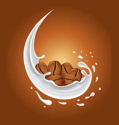 milk splash with coffee beans vector image