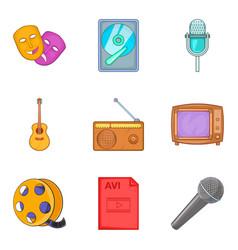 musical arrangement icons set cartoon style vector image