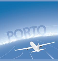 Porto skyline flight destination vector