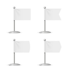 realistic template blank white flags pocket table vector image vector image