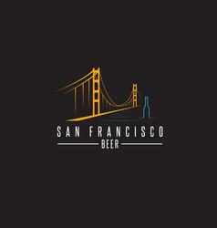 San francisco golden gate bridge with beer vector