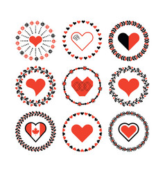Set of circle border decorative hearts symbol vector