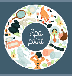 Spa point commercial banner with skincare and vector