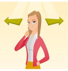 Woman choosing career way or business solution vector