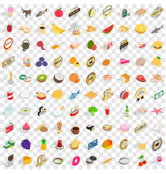 100 dishes icons set isometric 3d style vector