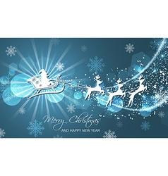 Christmas abstract greeting card Flying Santa on vector image