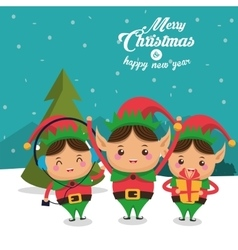 Elf cartoon of christmas season design vector