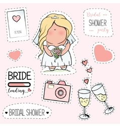 Bachelorette or wedding party stickers vector image