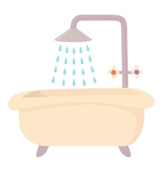 Bath with shower icon cartoon style vector