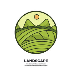 Landscape scenery design with green fields and vector
