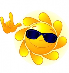 Cute sun with sunglasses vector