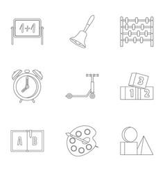 Kindergarten icons set outline style vector