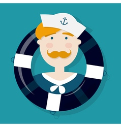 Cute ginger sailor cartoon character in a lifebuoy vector