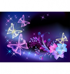 glowing transparent flowers and butterfly vector image