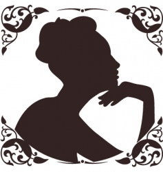 Vintage lady silhouette vector