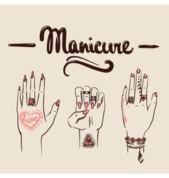 Woman hands with manicure and tattoos vector