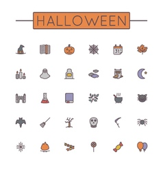 Colored halloween line icons vector
