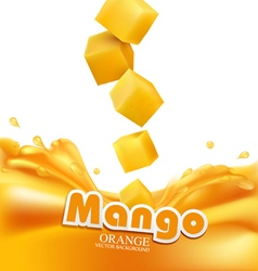 Mango slices falling into fresh juice isolated vector
