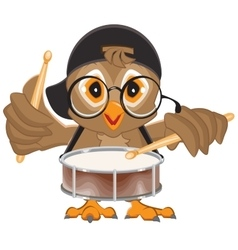 Owl drummer owl beats the drum vector