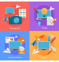 Set of flat square design concept icons vector