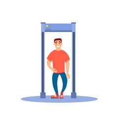 a man walks through a metal detector vector image