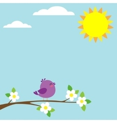 Bird sitting on blooming branch vector image vector image