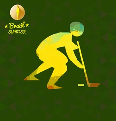 Brazil summer sport card with an yellow abstract h vector