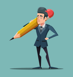 cartoon businessman holding big pencil vector image