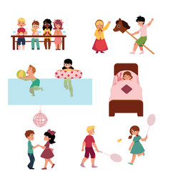 Cartoon kids spending vacation in summer camp vector