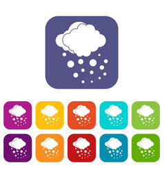 Cloud with hail icons set vector