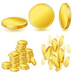 Collection icons of gold coins vector image vector image