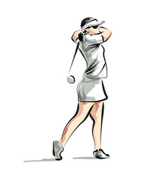 color line sketch woman playing golf vector image vector image