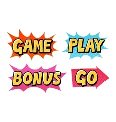 Comic text icons lettering such as game vector
