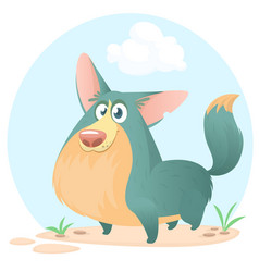 cute welsh corgi cartoon vector image