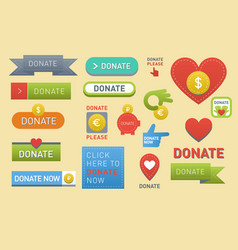 Donate buttons set help icon donation gift charity vector