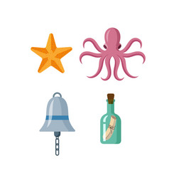 Flat starfish octopus ship bell bottle message vector