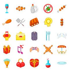 Glad icons set cartoon style vector