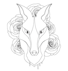 Graceful fox coloring page for adult vector
