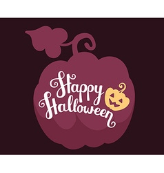 Halloween with silhouette of pumpkin with te vector