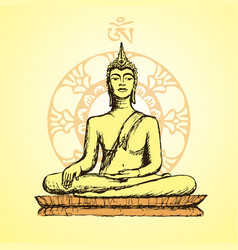 hand drawn buddha in meditation vector image