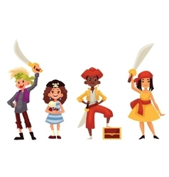 Kids in pirate costumes with swords and treasure vector