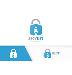 Lock and rocket logo combination safe and vector