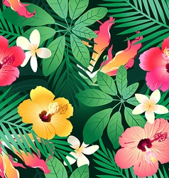 Lush tropical flowers vector
