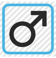 Male symbol icon in a frame vector